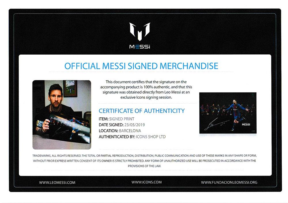 リオネル・メッシ 直筆サインフォト FCバルセロナ ラ・リーガ ウィナー 10回記念 モンタージュ (Lionel Messi Official Signed FC Barcelona Photo: 10x La Liga Winner Montage)