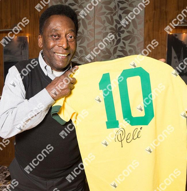ペレ 直筆サインジャージ ブラジル代表 レトロユニフォーム Home (Pele Signed Retro Brasil Home Shirt)