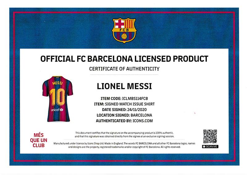 リオネル・メッシ 直筆サイン入りマッチイシュー (試合着用仕様) ユニフォーム 2020-21 FC バルセロナ バックサイン (Match Issue Lionel Messi Official FC Barcelona Back Signed 2020-21 Home Shirt)