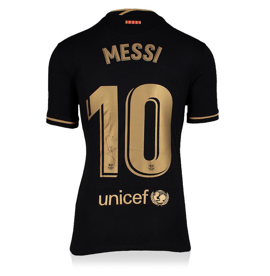 リオネル・メッシ 直筆サイン入りユニフォーム 2020-21 FC バルセロナ アウェイ バックサイン (Lionel Messi Official FC Barcelona Back Signed 2020-21 Away Shirt)