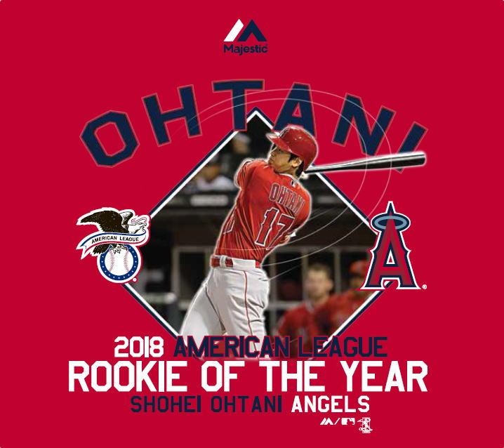 大谷翔平 ルーキー・オブ・ザ・イヤー Tシャツ #2 (エンゼルス/レッド) / Majestic Shohei Ohtani Rookie of the Year 送料無料