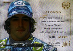 Fernando Alonso 2006 Futera Grand Prix Memorabilia Card 275枚限定!�