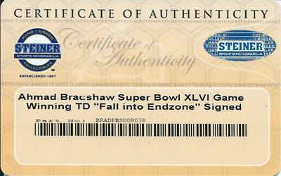 """ジャイアンツ #44 アーマド・ブラッドショー  直筆サイン入り 8x10 フォト  (Super Bowl XLVI Game Winning TD """"""""Fall into Endzone"""""""") / NY Giants #44 Ahmad Bradshaw"""