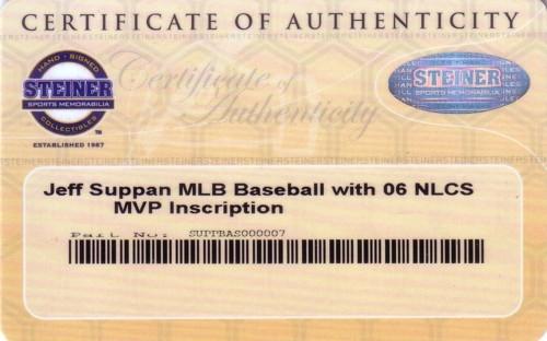 ジェフ・スーパン 直筆サインボール/06 NLCS MVP インスクリプション入り Jeff Suppan
