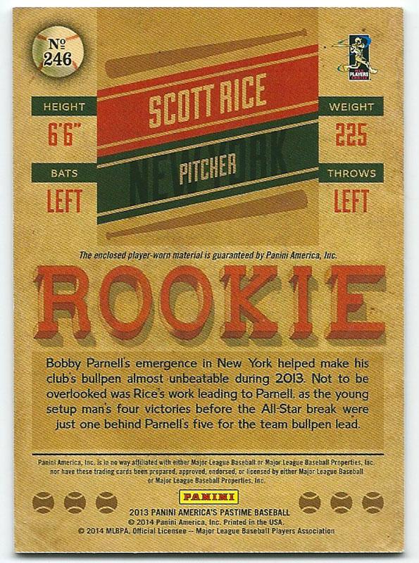 スコット・ライス  2013 America's Pastime Rookie Memorabilia Gold Scott Rice 16/25