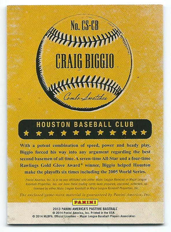 クレイグ・ビジオ 2013 America's Pastime Combo Swatches Craig Biggio 73/99