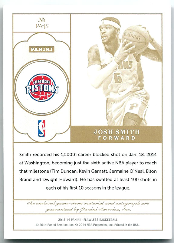 Josh Smith 2013-14 Panini Flawless Autographed Patches 18/25
