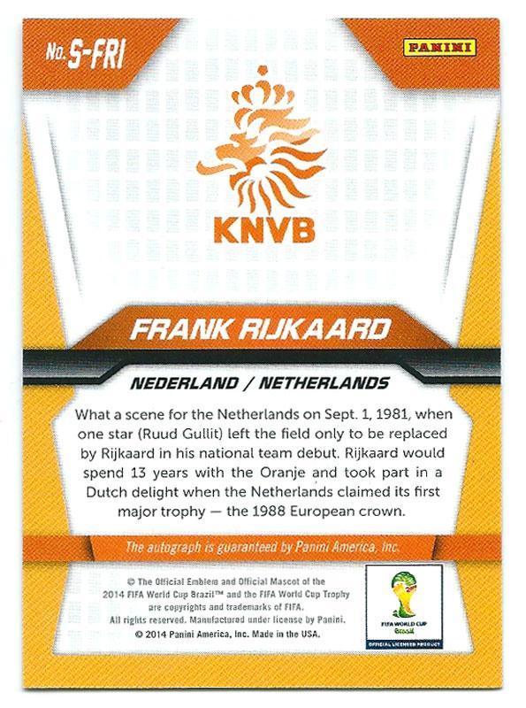 フランク・ライカールト 2014 Panini Prizm FIFA World Cup Soccer Autograph 直筆サインカード / Frank Rijkaard