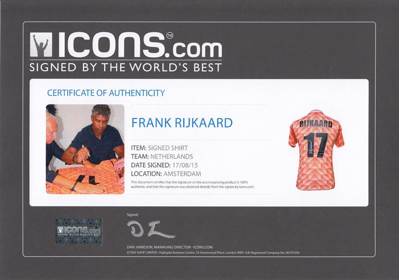 フランク・ライカールト 直筆サイン入りユニフォーム EURO 1988 オランダ代表 ホーム バックサイン(Frank Rijkaard Signed Netherlands 1988 Shirt)