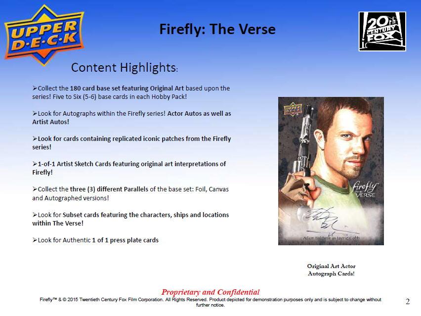 2015 Upper Deck Firefly : The Verse  トレーディングカード、10/21入荷!