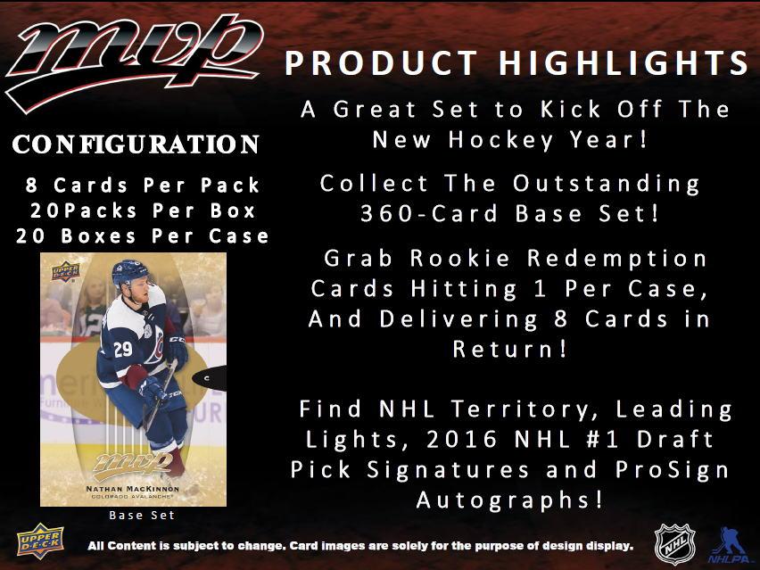 NHL 2016-17 UD MVP Hockey