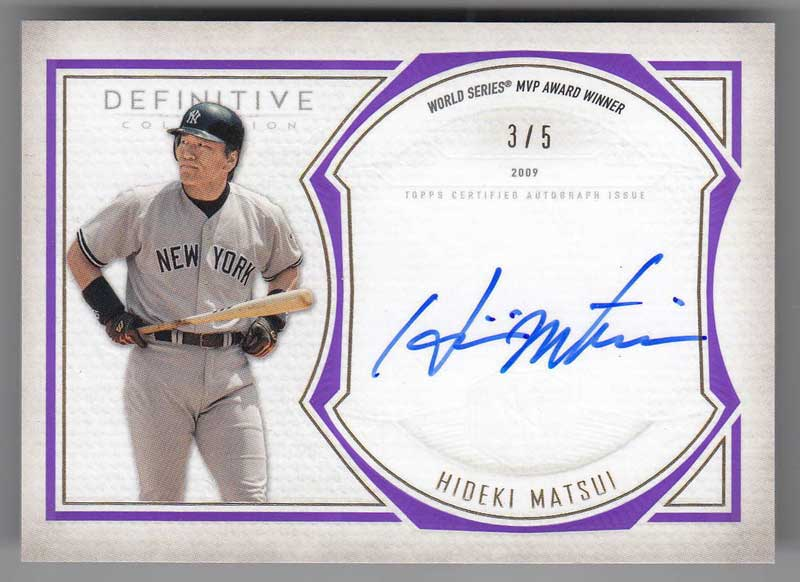 松井秀喜 MLBカード 2019 Topps Definitive Collection Legendary Autograph Collection Purple 3/5