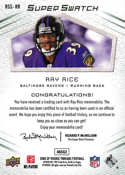レイ・ライス 2008 SP Rookie Threads Rookie Super Swatch 36/99 Ray Rice