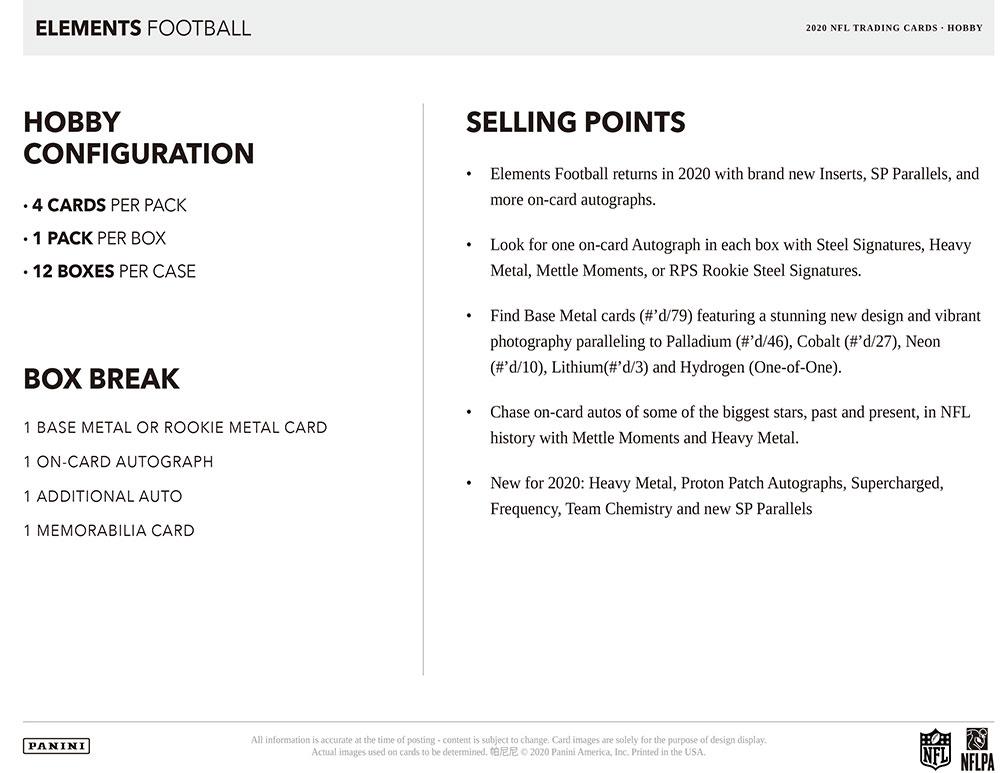 NFL 2020 Panini Elements Football 8/14入荷