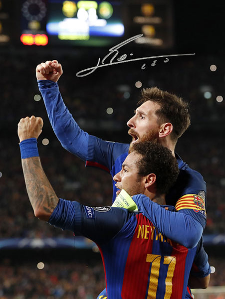 リオネル・メッシ 直筆サインフォト 額装 FC バルセロナ セレブレーション ネイマール (Lionel Messi Official Signed Barcelona Photo: Celebration with Neymar Jr vs PSG!!通常サイズ