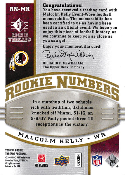 マルコム・ケリー 2008 SP Rookie Threads Rookie Numbers 14/75 Malcolm Kelly