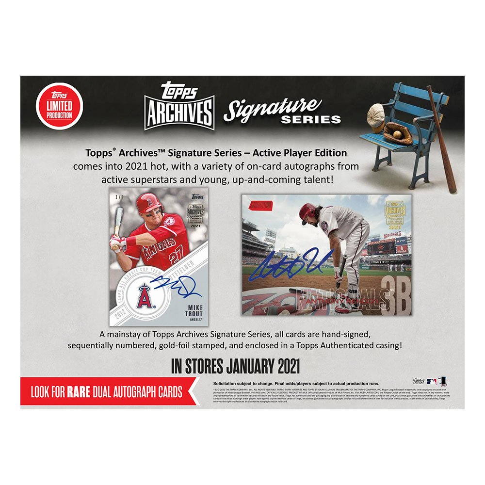 MLB 2021 Topps Archives Signature Series Active Player Edition Baseball Cards 1/20入荷!