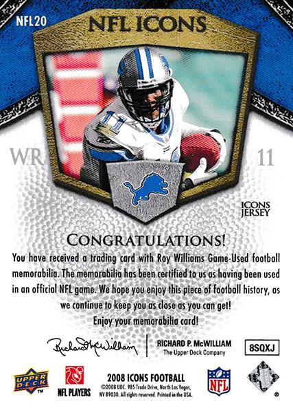 ロイ・ウィリアムズ 2008 UD Icons NFL Icons Jersey 040/150 Roy Williams