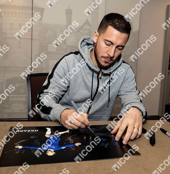 エデン・アザール チェルシー 100 ゴール 直筆サインフォト 額装 Eden Hazard Signed Chelsea Artwork: 100 Chelsea Goals