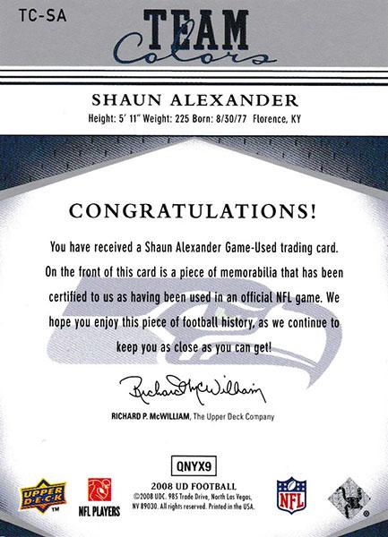 ショーン・アレキサンダー 2008 Upper Deck Team Colors Jersey / Shaun Alexander
