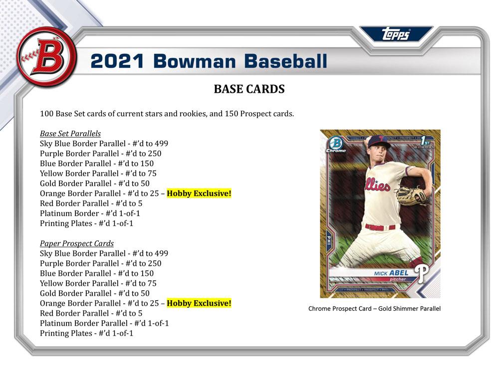 MLB 2021 Bowman Baseball Hobby 2021年、4/28入荷!