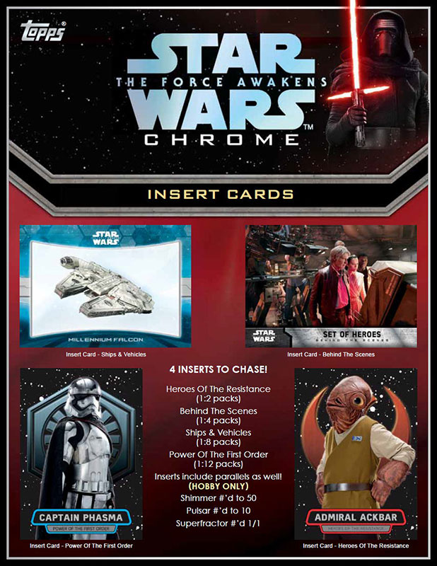 スター・ウォーズ/フォースの覚醒 2016 Topps STAR WARS :The Force Awakens Chrome トレーディングカード 8/19入荷!