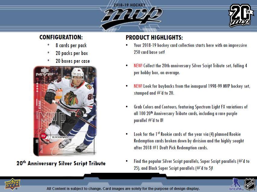 NHL 2018-19 UD MVP Hockey