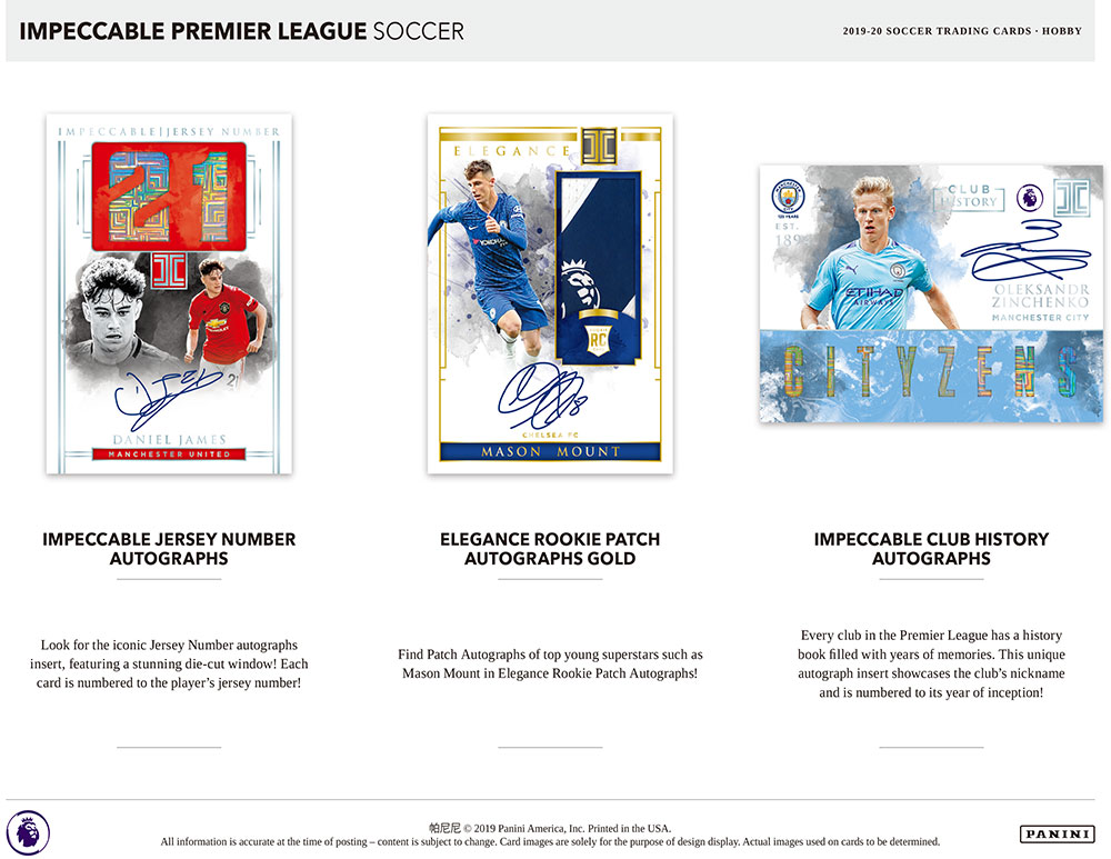 2019-20 Panini Impeccable Premier League Soccer 7/29入荷