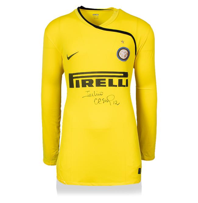 ジュリオ・セザル 直筆サインユニフォーム 2008-09 インテル・ミラノ ゴールキーパーシャツ フロントサイン (Julio Cesar Front Signed Internazionale 2008-09 Goalkeeper Shirt)
