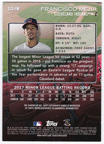 フランシスコ・メヒア MLB 2018 Topps Stadium Club Autographs #SCA-FM Francisco Mejia