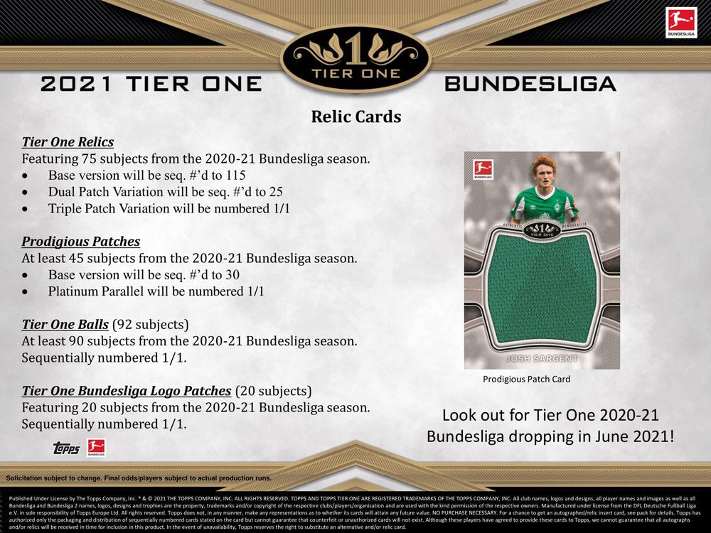 2020-21 Topps Bundesliga Tier One Soccer 6/2入荷