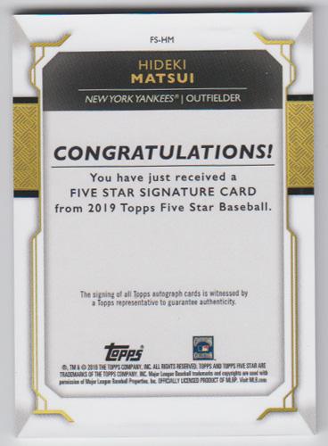 松井秀喜 MLBカード 2019 Topps Five Star Signatures Autograph 13/20