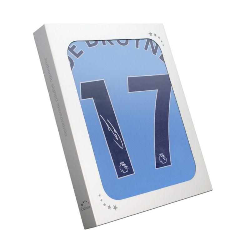 ケビン・デ・ブライネ 直筆サイン入りユニフォーム 2020-21 マンチェスター・シティFC ホーム バックサイン ホワイトギフトボックス入り (Kevin De Bruyne Signed Manchester City 2020-21 Shirt. Gift Box)