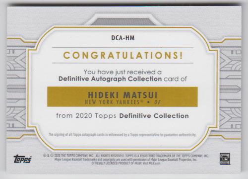 """松井秀喜 MLBカード 2020 Topps Definitive Collection Autograph """"2009 WS MVP""""インスクリプション入り 04/10"""