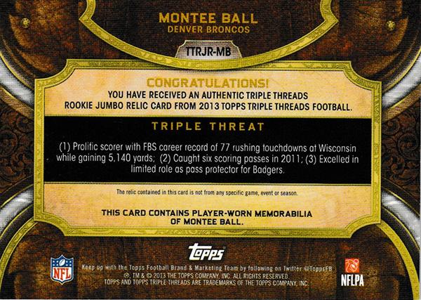 モンティー・ボール 2013 Topps Triple Threads Patch 09/10 Montee Ball