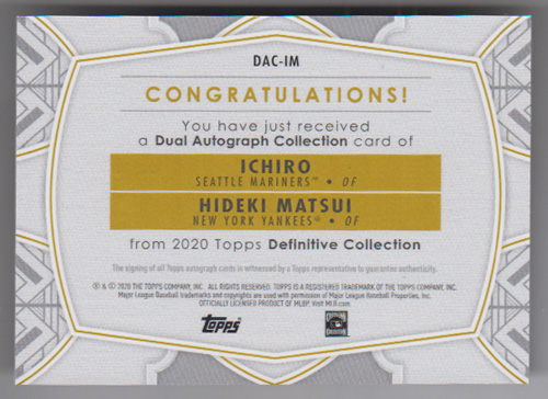 イチロー / 松井秀喜 MLBカード 2020 Topps Definitive Collection Dual Autograph 10/10 Ichiro