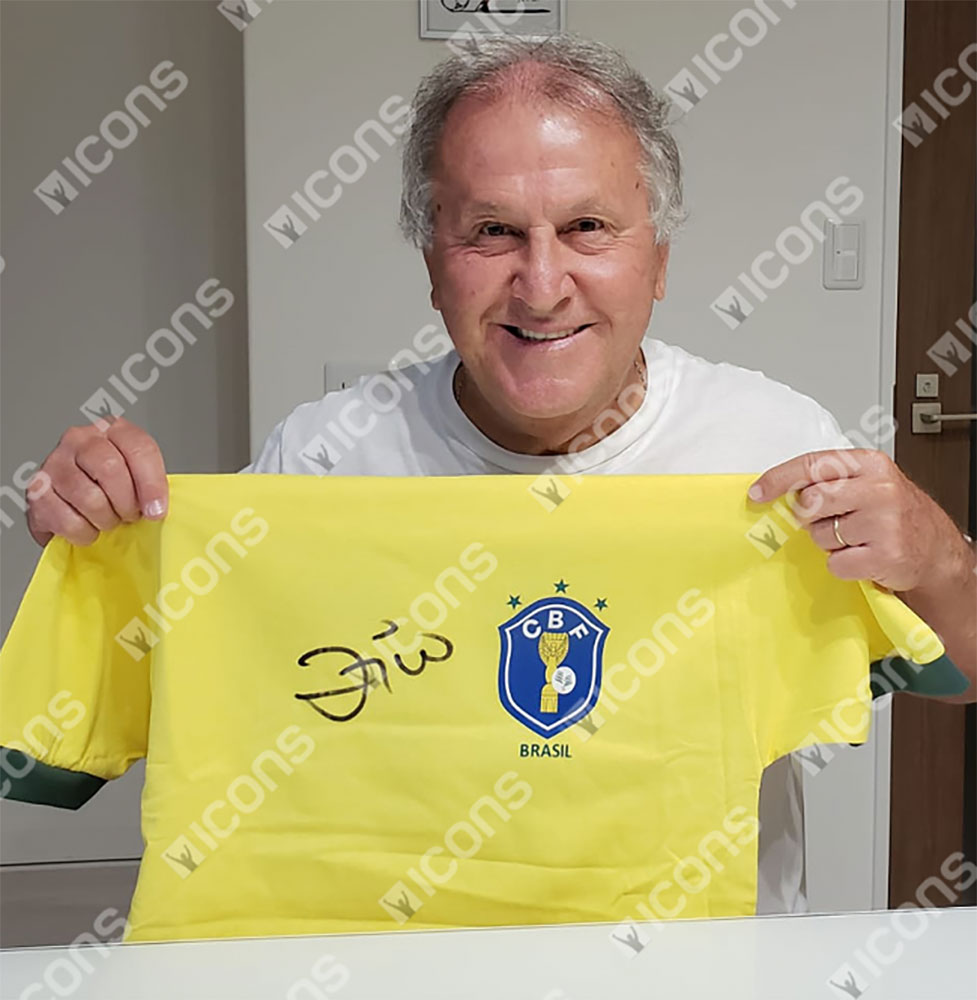 ジーコ 直筆サイン入りユニフォーム 1982 ブラジル代表 ホーム フロントサイン (Zico Front Signed Brazil 1982 Home Shirt)