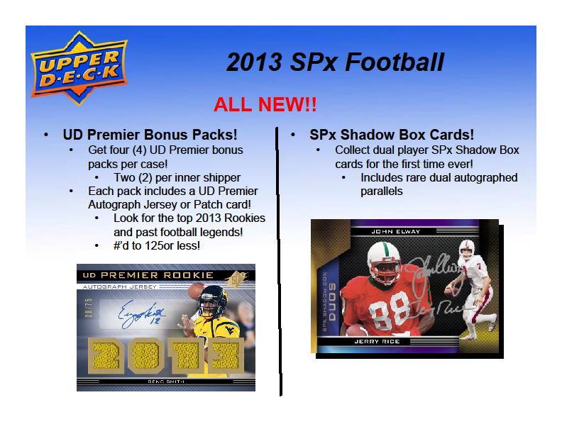 2013 UD SPx Football パック (Pack) ★6/17入荷