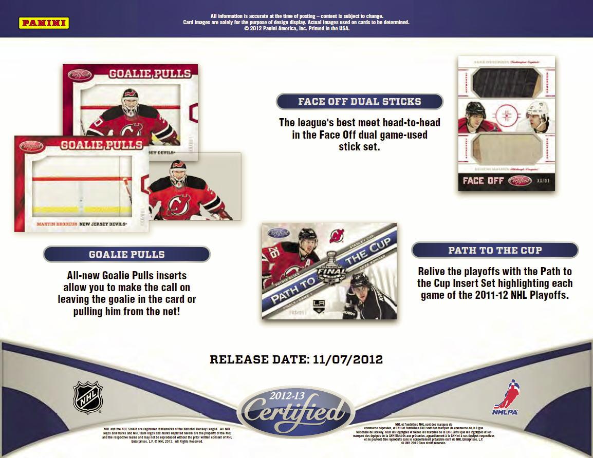 NHL 12/13 Panini Certified Hockey