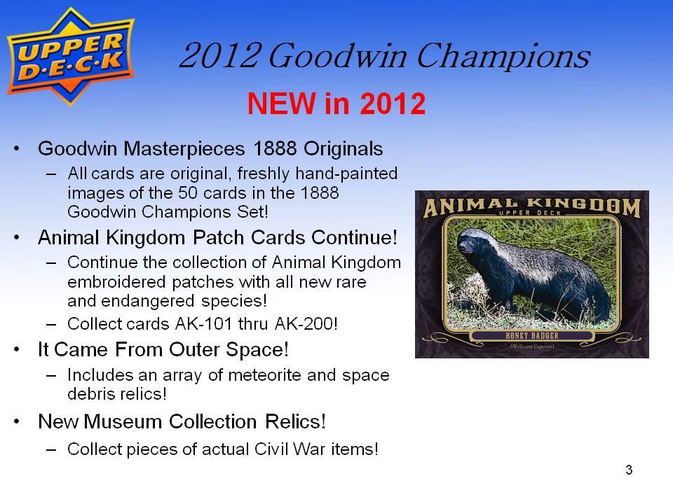 スポーツカード 2012 UD Goodwin Champions パック (Pack)