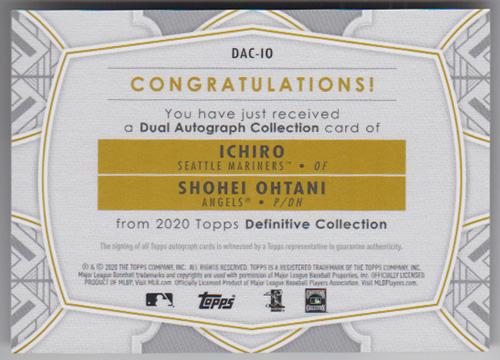 イチロー / 大谷翔平 MLBカード 2020 Topps Definitive Collection Dual Autograph 08/10 Ichiro