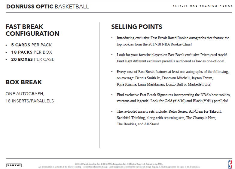 NBA 2017-18 Panini Donruss Optic Basketball Fast Break