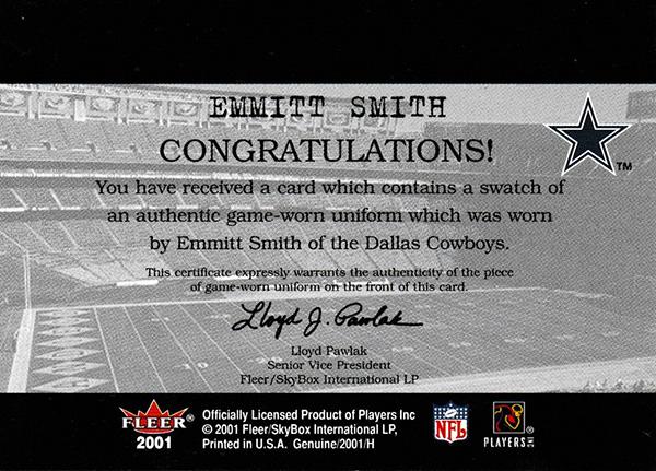 エミット・スミス 2001 Fleer Genuine Final Cut Jersey / Emmit Smith