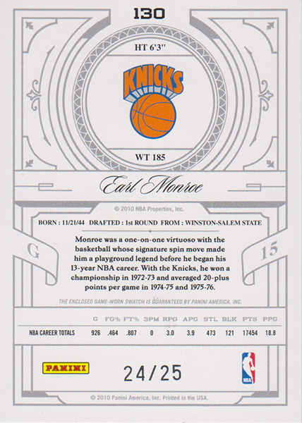 アール・モンロー NBAカード 2019-10 National Treasures Century Legend Jersey (24/25) / Earl Monroe