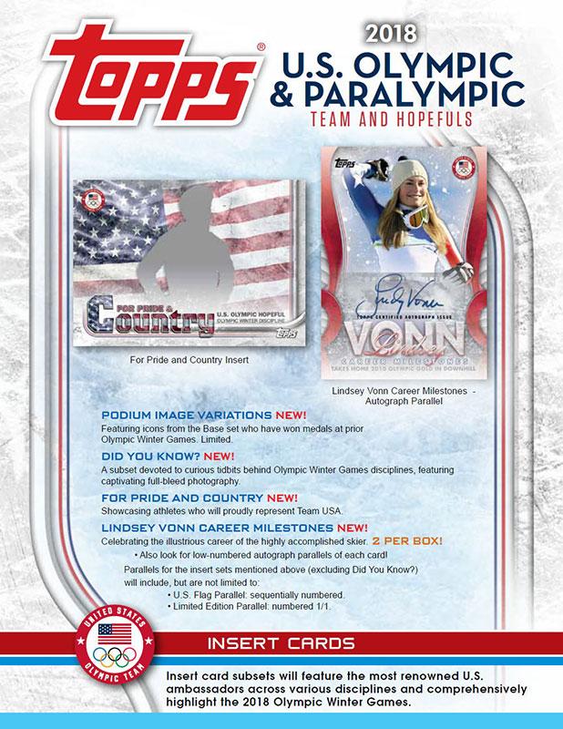 2018年平昌オリンピック・パラリンピック・アメリカ代表チームと出場予定選手を封入: 2018 Topps U.S. Olympic & Paralympic Team Hopefuls 送料無料、1/26入荷!