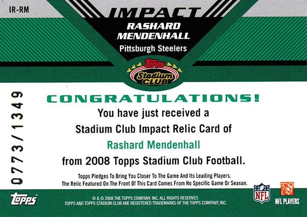 ラシャード・メンデンホール 2008 Topps Stadium Club Impact Jersey 0773/1349 Rashard Mendenhall