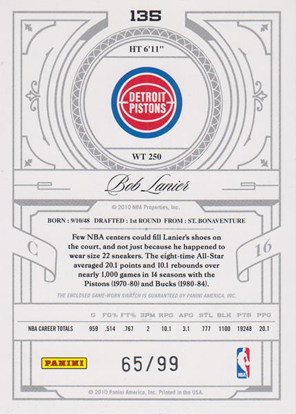 ボブ・レイニア NBAカード 2019-10 National Treasures Century Legend Jersey (65/99) / Bob Lanier