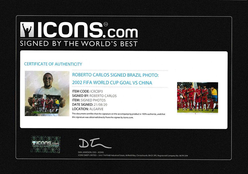 ロベルト・カルロス 直筆サインフォト ブラジル代表 2002 FIFA ワールドカップ ゴール vs チャイナ (Roberto Carlos Signed Brazil Photo: 2002 FIFA World Cup Goal vs China)