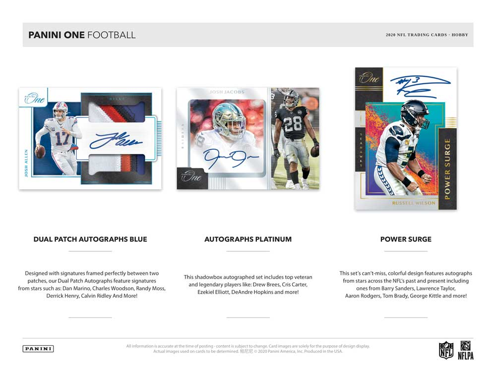 NFL 2020 Panini One Football 3/12入荷!