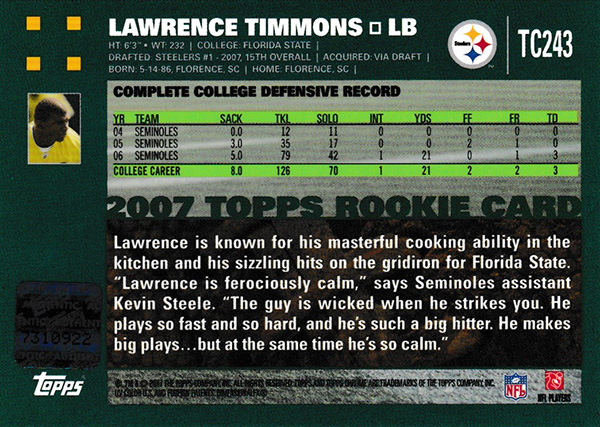 ローレンス・ティモンズ 2007 Topps Chrome Rookie Autographs / Lawrence Timmons